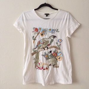 NWT Ann Taylor White Embroidered Short Sleeve Tee